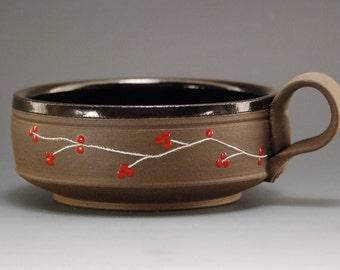 Soup bowl with handle, Ceramic soup bowl, Pottery bowl, Handmade soup bowl, Handmade ceramic bowl, Rice bowl , Ceramic bowl, Cereal  bowl