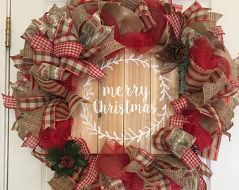 Red and Burlap Wreath