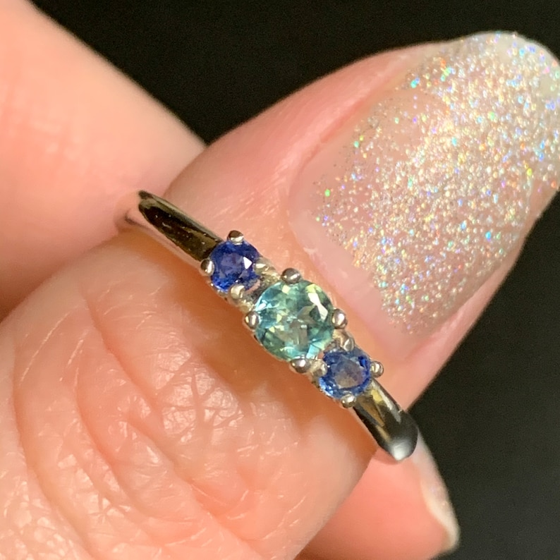 Size 7 Paraiba Tourmaline and Blue Sapphire Ring .43 Carats Sterling Silver 4mm and 2.5mm Rounds
