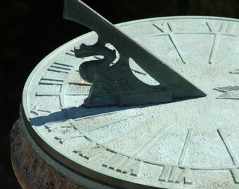Green Copper Sundial Close Up Macro Garden Nature Photography, Customizable Instant Download