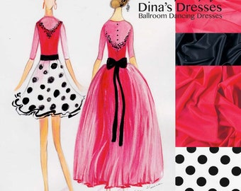 4f43f4dca115 Fluo Red Polka Dot Set - Junior 1 Ballroom Dancing Set (Leotard + 2 skirts  + accessories)