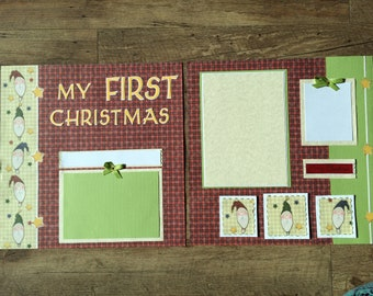 My First Christmas Premade Two-Page Scrapbook Layout Spread, Baby's First Christmas, 2 Page, Folksy Santa, Prim Style, Handstitching, Cricut