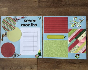 """Premade """"Seven Months"""" 12x12 Baby Memory Book Scrapbook Layout, Christmastime, with Milestone Chart and Room for 3+ Pictures and Journaling"""