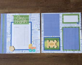 Premade 12x12 Two-Page Baby Boy Scrapbook Layout, Milestones Chart, Room for 2+ Photos/Journaling, Green, Yellow, Orange, Blue Primary Color