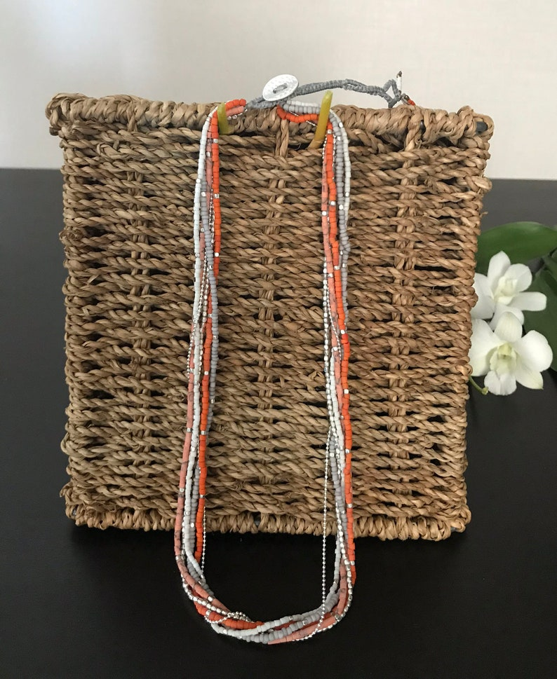 Wear 2 ways Choker necklace or Bracelet Multi strands Orange White Grey Silver beads beaded jewelry  BOHO bohemian Hippie