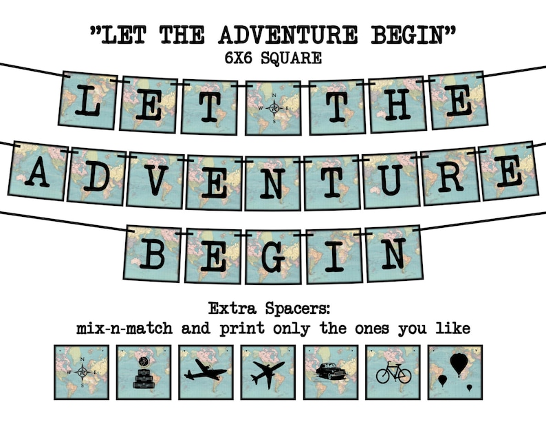 013c8438b1f5 LET the ADVENTURE BEGIN Square Vintage Map Printable Party
