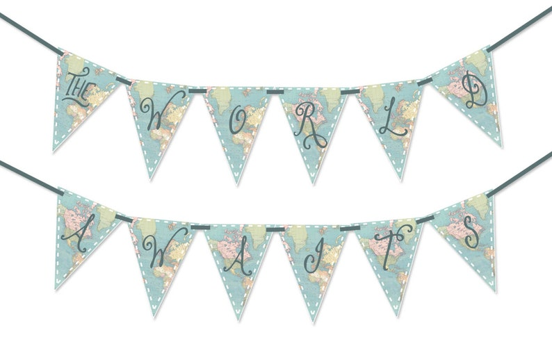 d915870c68ff The WORLD AWAITS Vintage Map Printable Party Banner and