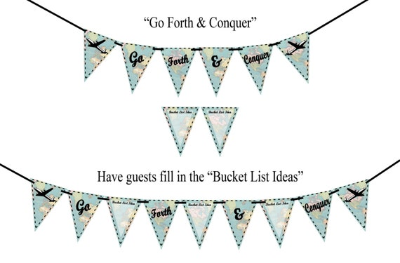8099c1ccd3d5 GO FORTH   CONQUER Vintage Map Printable Party Banner and