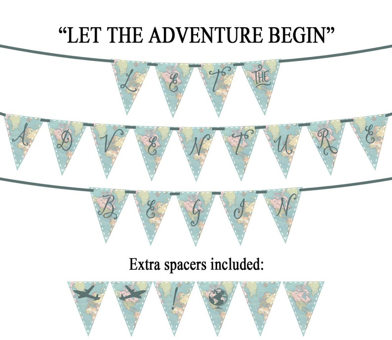 fc3ab71a196c LET the ADVENTURE BEGIN Vintage Map Printable Party Banner