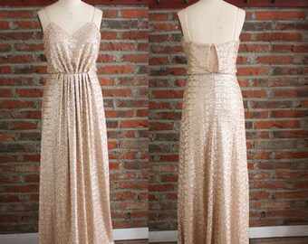 4837717b386 Sequin Bridesmaid Dress, Maxi Party Dress, Formal Dress for Wedding,  Spaghetti Strap Dress, Rose Gold Sequin Dress, Sweetheart Ruched Dress