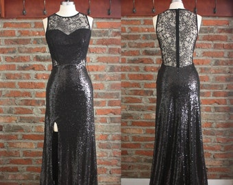 6a24b3ab243be Sexy Black Sequins Lace Long Evening Dress,High Slits Lace Cocktail Dress, Black Sequins Evening Gowns,Black Ball Party Prom Lace Dresses