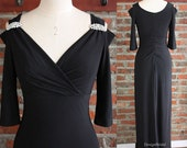 Long Black Evening Dress, Formal Dresses, Fitted Prom Dresses, Cold Shoulder Dress, Evening Gowns with Sleeves, Beaded Dress