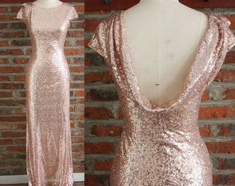 e5a8a539bdcc7 Rose Gold Bridesmaid Dress, Cowl Back Formal Women Dress, Sequin Dress Long,  Rose Gold Evening Prom Party Dress Cap Sleeves