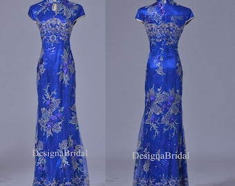 69fd9c198 Blue Qipao Dress Long,Lace Chinese Vintage Cheongsam Holiday Dresses,Gold  Fishtail Traditional Chinese Dress,Chinese Wedding Party Dress