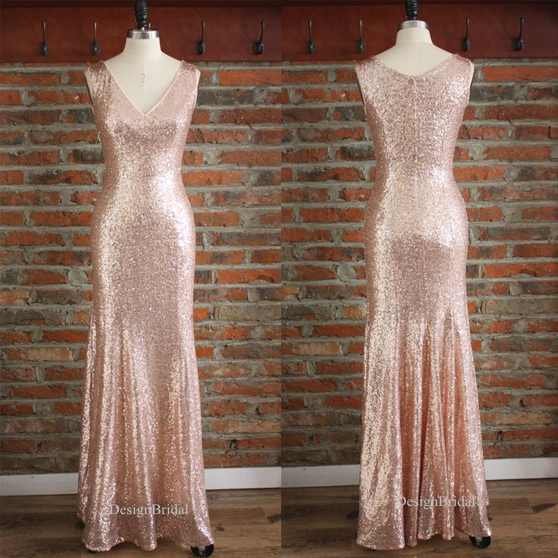 059823e6a65 Rose Gold Dress Mermaid Long Dresses V Neck Sexy Sequin