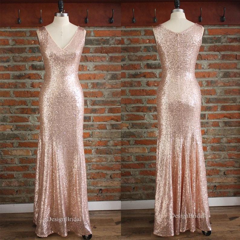 586885381 Rose Gold Dress Mermaid Long Dresses V Neck Sexy Sequin