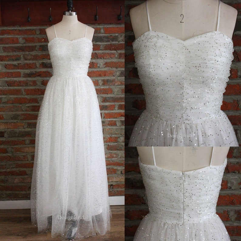 0bfbed0f3 Simple Wedding Dress with Spaghetti Straps Engagement Party