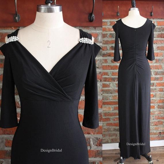 Long Black Evening Dress Formal Dresses Fitted Prom Dresses Etsy