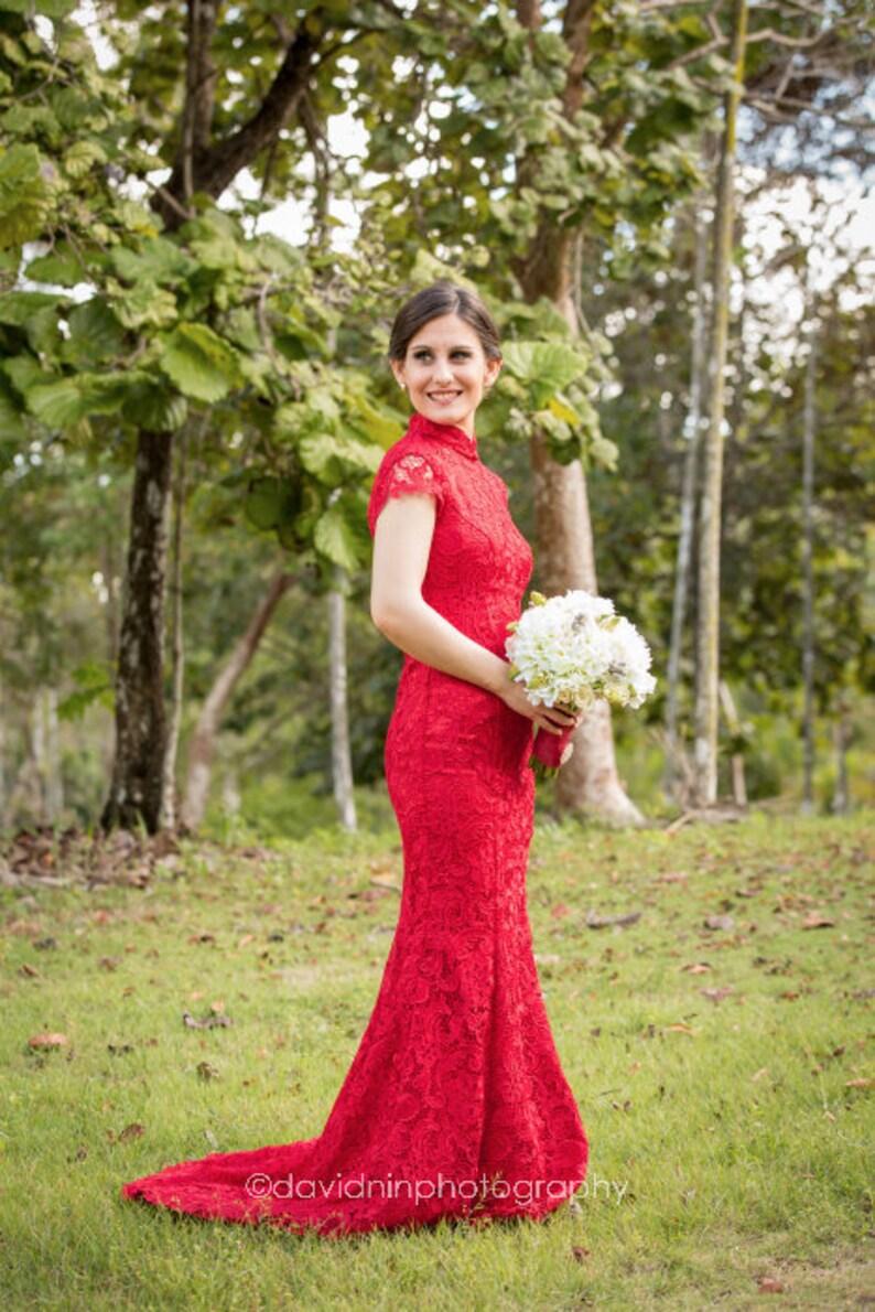 124db75ad5b Mermaid Wedding Dress Lace with TrainRed Lace Cheongsam