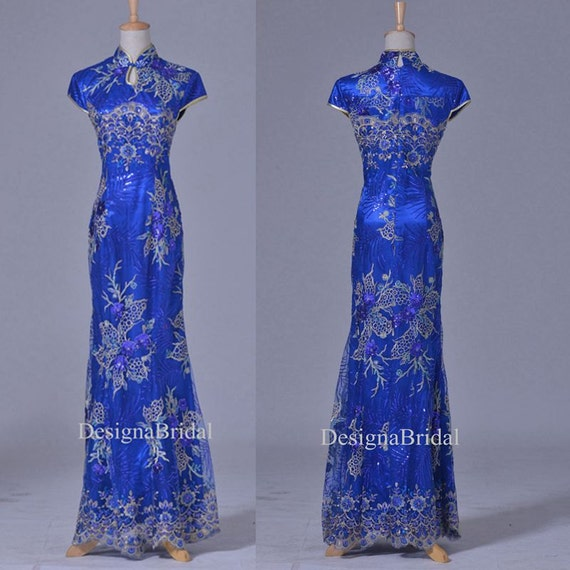 Blau Qipao Kleid lang Spitze chinesischen Jahrgang Cheongsam