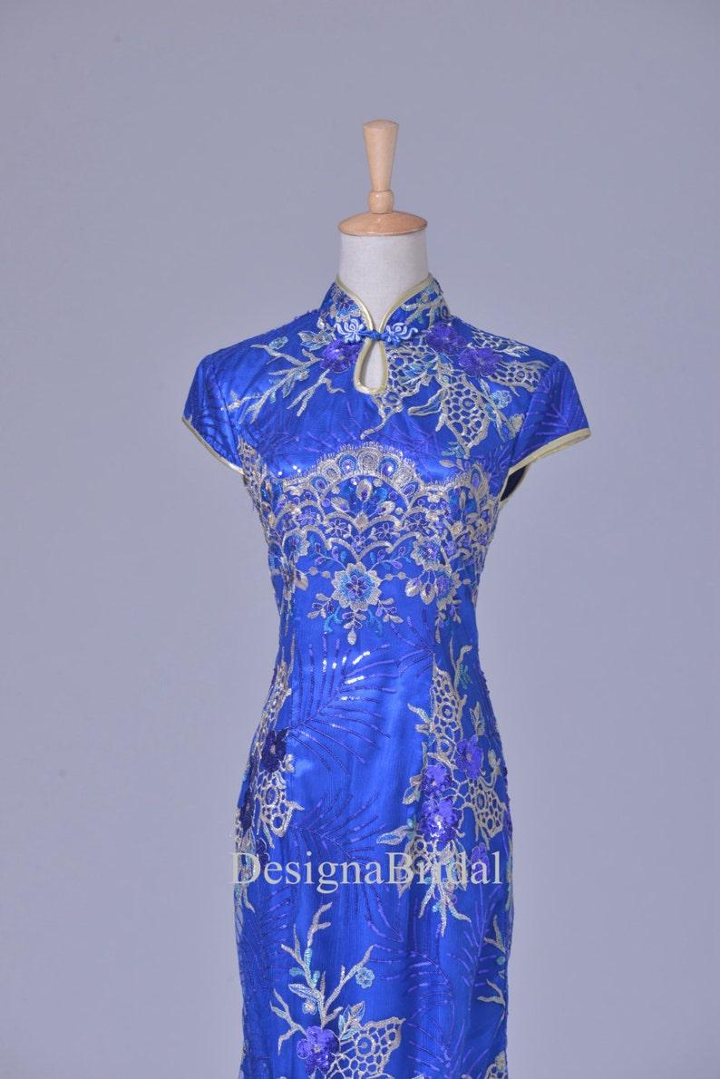 5c02aebee Blue Qipao Dress LongLace Chinese Vintage Cheongsam Holiday | Etsy