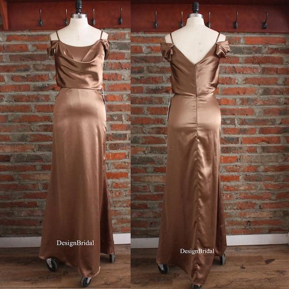 Satin Dress Formal Dress Slip Silky Satin Gowns Coffee Maxi Etsy
