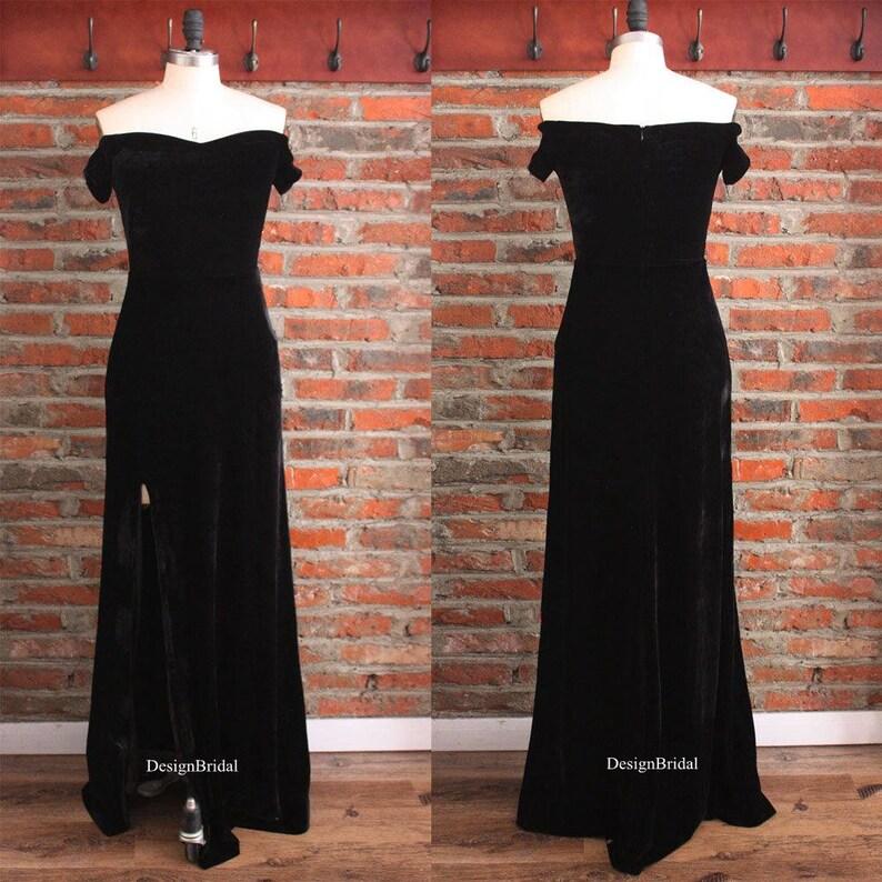 40c6c1b96847 Womens Velvet Dress Off the Shoulder Evening Long Dress | Etsy