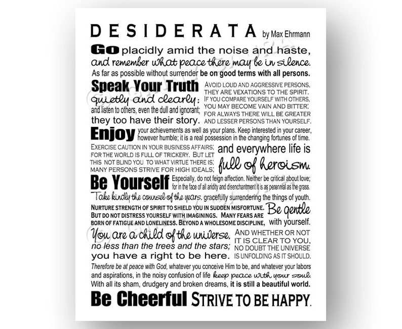 image relating to Desiderata Printable named Desiderata Poem as a result of Max Erhmann - Prompt Printable Obtain Artwork - 8x10 Black and White - Residence Decor Inspiring Reward - Design and style as a result of Ginny Gaura