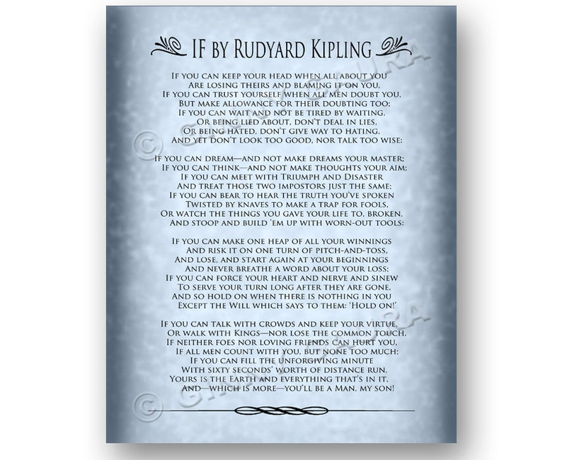 image relating to If by Rudyard Kipling Printable referred to as If as a result of Rudyard Kipling - 8x10 Prompt Printable Obtain History - Inspirational Prose Poem Poetry Reward for Grad - Style by means of Ginny Gaura