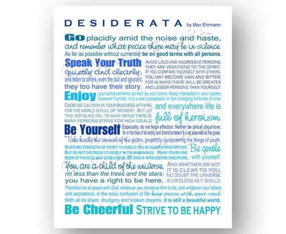 Desiderata Poem By Max Erhmann Instant Printable Download Art 8x10 Blue Inspirational Graduation Gift Design By Ginny Gaura