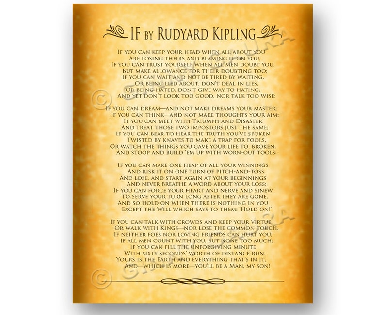 picture relating to If by Rudyard Kipling Printable named If through Rudyard Kipling - 8x10 Immediate Printable Obtain History - Inspirational Prose Poem Poetry Reward for Grad - Layout as a result of Ginny Gaura