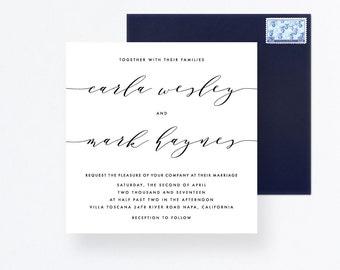 Calligraphy Wedding Set, Square Wedding Invitation, Wedding Set, Calligraphy Wedding Cards, Square Invitation, Wedding Square Invite