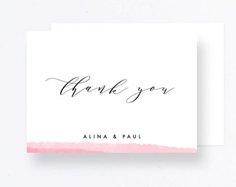 Watercolor Thank you Card, Pink Wedding Cards, Printable Thank you Wedding Card, Watercolor Wedding DIY Cards, Wedding Watercolor Printable