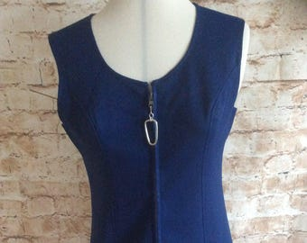 Vintage Mini Dress Pinafore Tunic c 1960s Zip Front Navy Crimplene Mod Scooter GoGo Day Dress Small