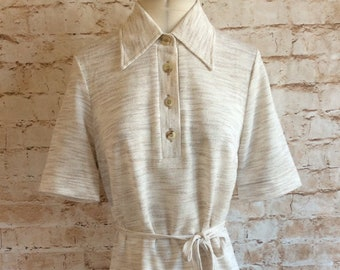 6995ceb07 Vintage Dress Shirtdress In Beige Textured Polyester Large Collar By St.  Michael c1970s Size 10 UK