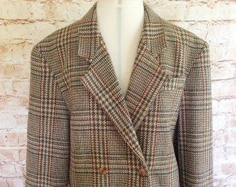 Jacket Blazer Vintage 1980s Cropped  Checked Wool Equestrian Double Breasted Boyfriend Style Heritage Size 16 UK