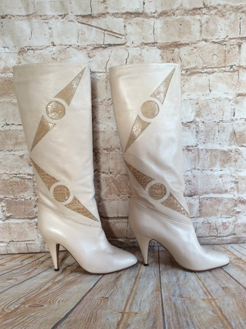 Vintage Knee High Boots In Soft Cream Nappa Leather With Snakeskin Trim By Ferdin c1980s 37 EUR Or 4.5 UK