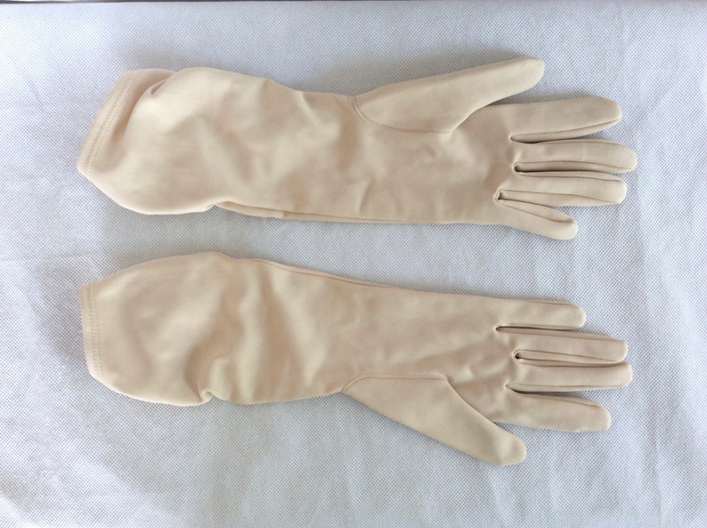 Vintage Long Gloves In Beige Nylon With Ruched Wrist Detailing c 1960s  Size Small