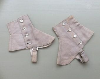 Vintage Spats Gaiters Beige Linen Fabric Victorian Steam Punk Reinactment Gothic Size 7 Small