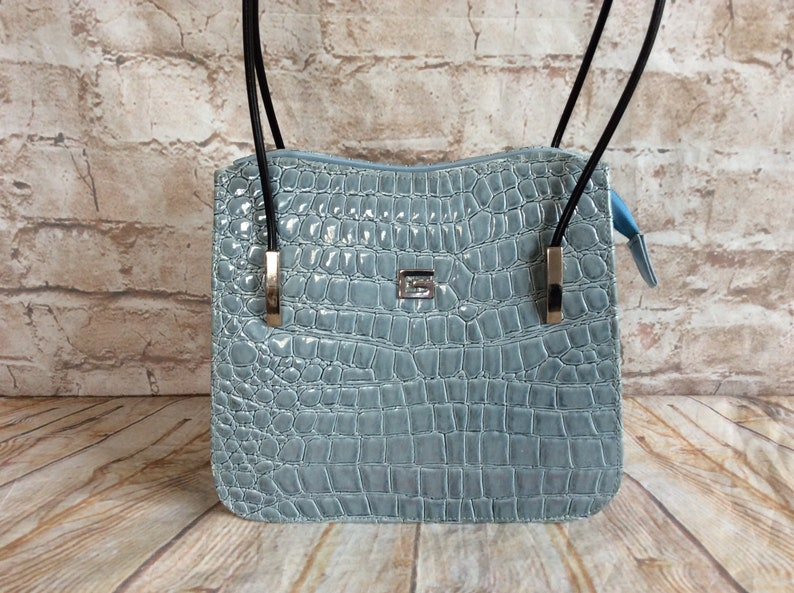 Vintage Handbag Purse In Pale Blue Patent Croc Faux Leather c1990s