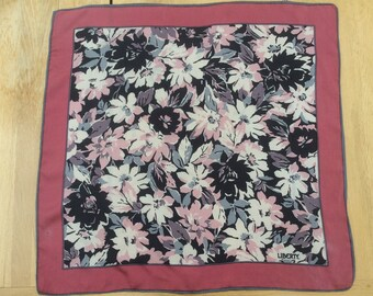 Vintage Silk Scarf By Liberty Designer Classic Small Size Pink Floral c 1980s