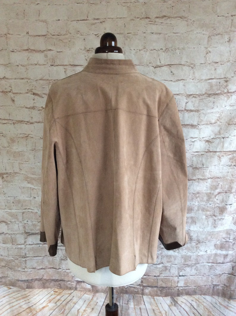Vintage Leather Jacket Bronze And Beige Zip Front Casual Style c1990s Size Large