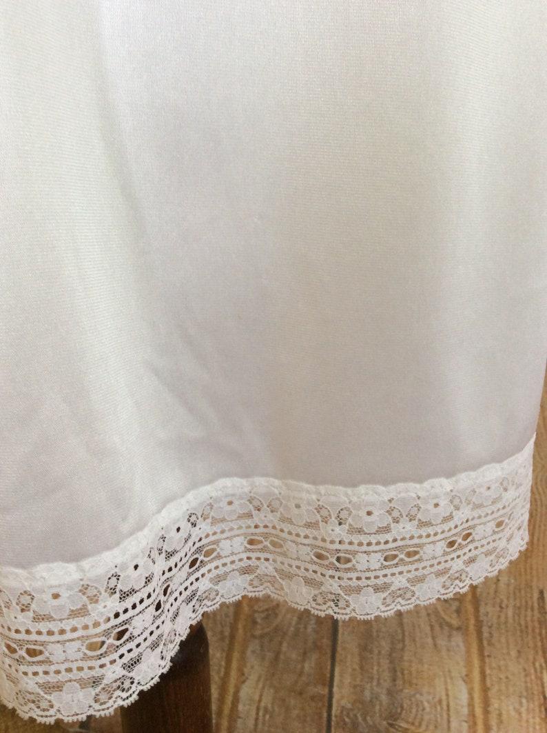 Vintage Half Slip Petticoat In White Nylon With Split Hemline And Lace Panel c1970s 8-10 UK