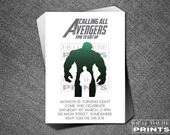 The Hulk Birthday Invitation - The Avengers - Superhero