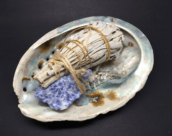 Smudge Kit Abalone shell, Blue Quartz & White Sage WSHABLUE03