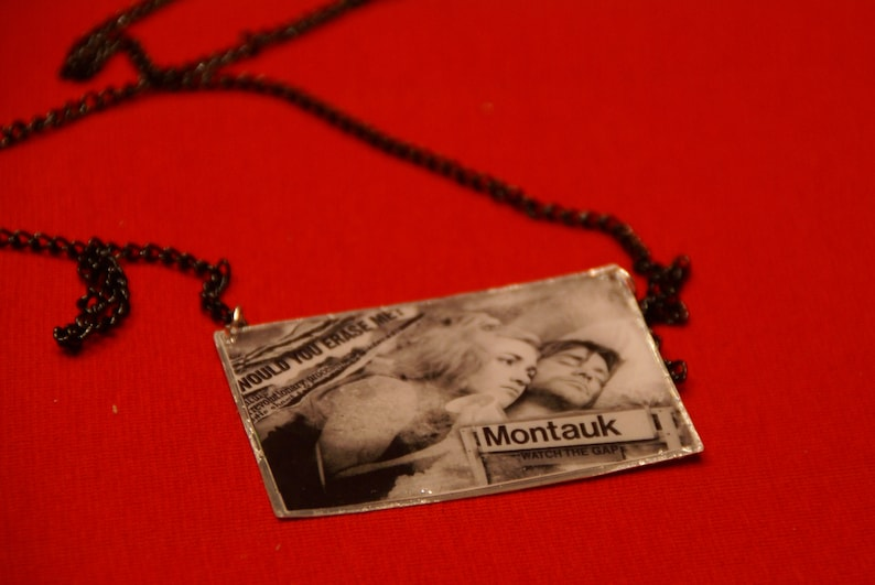 black and white large pendant.Meet me in Montauk Kate Winslet and Jim Carrey handmade necklace. The Eternal Sunshine of the Spotless Mind