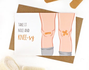 Get Well Soon Card, Take it Easy Card, Knee Operation, Feel Better Soon Card, Speedy Recovery Card, Knee Card, Get Well, Plasters on Knees