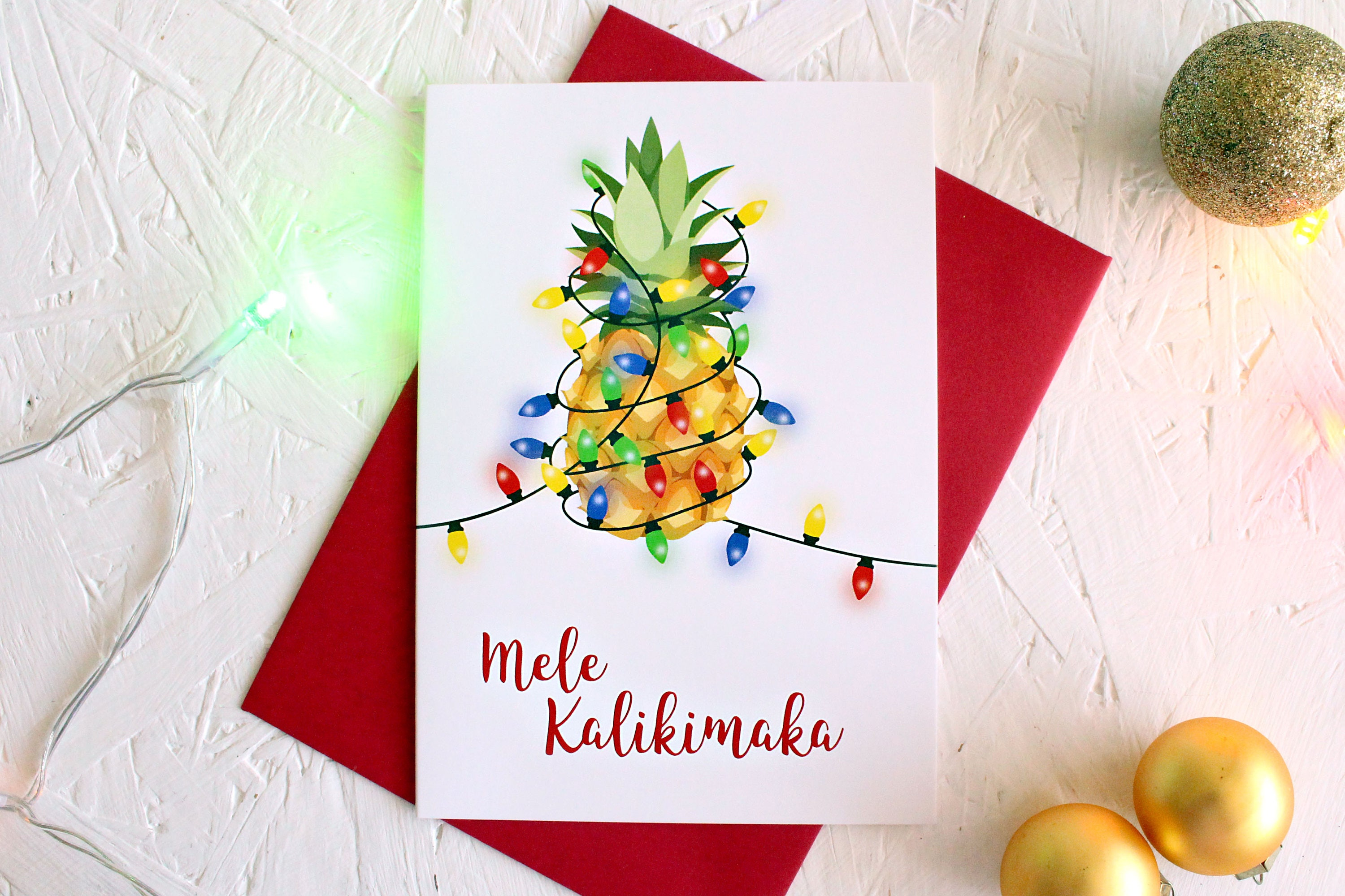 Mele Kalikimaka, Hawaiian Christmas Card, Merry Christmas, Christmas Lights, Christmas Greetings, Happy Holiday, Christmas Card, Pineapple