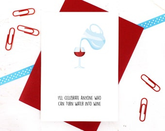 Funny Easter Card, Easter Card, Happy Easter Card, Water into Wine, Water into Wine Card, Wine Card, Funny Happy Easter Card, Jesus Card