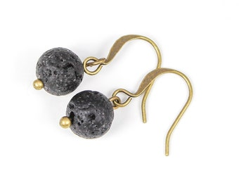 Oil Diffuser Earrings, Essential Oil Earrings, Lava Stone Earrings, Lava Rock Earrings, Aromatherapy Earrings, Diffuser Jewelry, Simple